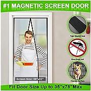 """MONOLED Magnetic Screen Door, Screen Door, Durable Hands- Free Door Mesh Curtain with Full Frame Seal, Fits Door Size Up to 35""""x78"""" Max (Black)"""