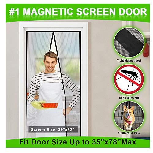 MONOLED Magnetic Screen Door, Screen Door, Durable Hands- Free Door Mesh Curtain with Full Frame Seal, Fits Door Size Up to 35'x78' Max (Black)