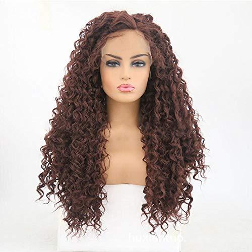 Perruques de cheveux longs perruque petite dentelle sur le devant de la fibre chimique brune petite vague cheveux longs en gros-14 pouces