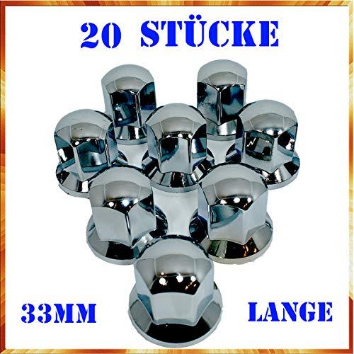 Easy Link - Tapacubos (20 unidades, 33 mm, cromados, para remolques de automóviles)