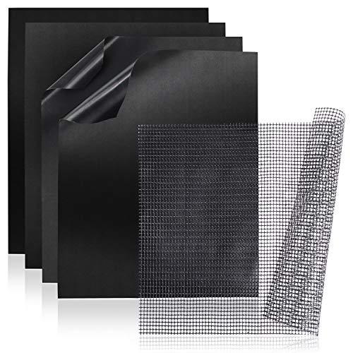 Amazy BBQ Grillmatte + Grillnetz (5er Set) - Wiederverwendbare Premium Grill- und Backmatte mit Teflon Antihaftbeschichtung für Grill und Backofen (rechteckig I 40 x 30 cm)