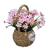 Flikool Flores Artificiales de Seda con Cesta de Flores Tejidas Falsas Narcisos con Jarrón Orquídeas Plantas Artificiales en Maceta Bonsai Verdes Arbustos para Ventana Balcón Interior - Pink