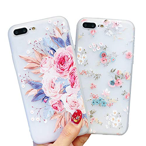 Pepmune 2 Pack for iPhone 7 Plus Case iPhone 8 Plus Case Girls Phone Cases Shockproof Soft Silicone Case Slim Fit Phone Case Fashion 3D Flowers Matte Protective Case Cover for Women