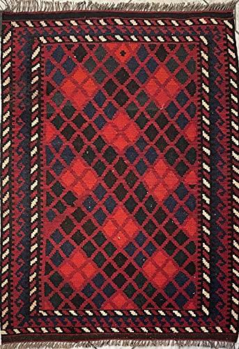 Tapis kilim oriental afghan fait à la main en laine aux couleurs naturelles afghan, turc, nomad, persan, traditionnel 92 x 125 cm vintage, chemin de couloir, escalier réversible