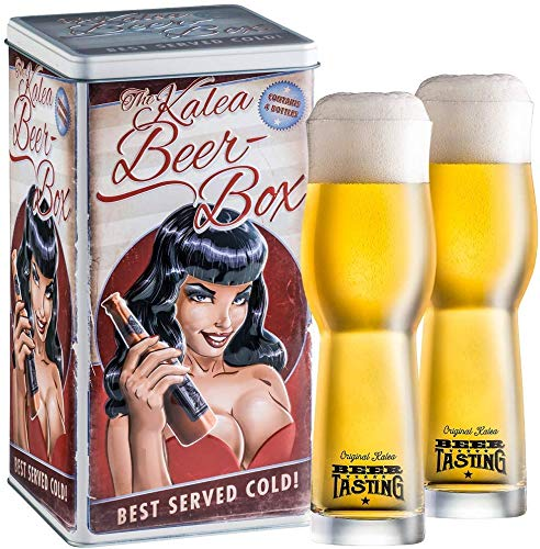 Kalea Beer Box | Metallbox mit 3D-Prägung | 4 X 0.33 L Bierspezialitäten | Inkl. 2 Verkostungsgläser (Edition Black Lady)