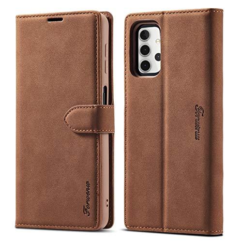Funda protectora Funda de billetera para Samsung Galaxy A32 5G F1 Series Matte Fuerte magnetismo Horizontal Flip Funda de cuero con soporte y ranuras para tarjetas y marco de fotos ( Color : Brown )