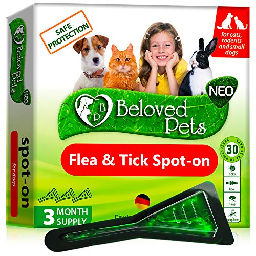 Flea and Tick Prevention for Dogs and Cats - Natural Flea Treatment for Pets Kittens Puppies - 100% Immediate Super Effect - 3 Months Supply - Flea and Tick Repellent Control… (Small)