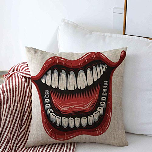 Starojan Pillow Case Red Smile Smiling Mouth Patch Tattoo Joker Big Evil Laugh Dentist Design Expression Farmhouse Decorative Throw Pillowcase Cover 20'x20' Winter Decoration