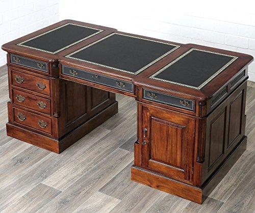 Moreko Antik Stil Schreibtisch Massiv-Holz Partnerdesk Mahagoni Arbeitstisch Schreibeinlage schwarz