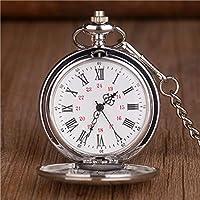 チェーン時計付き懐中時計レトロクラシックシルバーポリッシュクォーツ懐中時計メンズペンダントチェーンスムース懐中時計ギフトシルバー