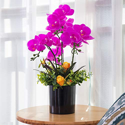YUYAO Artificial Orchid Bonsai with Vase Real Touch Fake Orchids Flowers PU Phalaenopsis Bonsai Arrangement for Home Office Table Party Decoration (Black, 1)