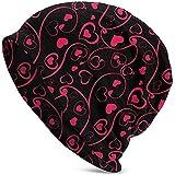 Tracray Bonnet Unisexe Coeur Amour Saint Valentin Tourbillon Motif Mince Casquette de tête de Mort Baggy Oversize Tricot Bonnet Noir