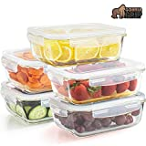 Gorilla Grip Original Premium Leakproof Glass Food Storage Canisters, 5 Pack 40 oz Size with...