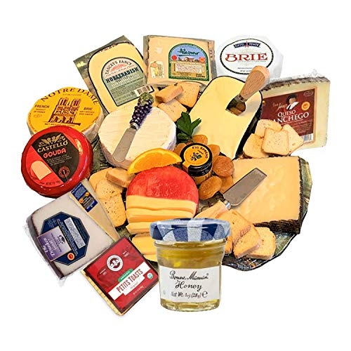 Gourmet Cheese Sampler - Cheese & Crackers 3 LB. Assortment - Brie, Manchego, Gouda, Cheddar, Parmigiano, Goat Cheeses - Dalmatia Fig Spread, Petit Toast & Olina's Crackers with Bonne Maman Honey