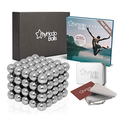 myHodo Magnetkugeln Set inkl. Ebook und Premium Zubehör, 100 Stück (5mm, Silber), Stresskiller und Anti Stress Geschenkidee, vielseitiges Büro Gadget, Starke Kühlschrank Magnete für Magnettafel