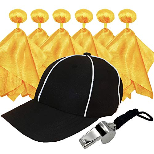 6 Penalty Football Penalty Flags, Football Referee Flag, Flags Football,Referee Hat (Adjustable Black with White) and Stainless Steel Whistle with Lanyard for Football Games Accessory