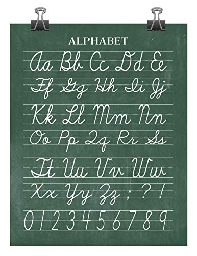 Vintage Alphabet and Numerical Cursive Classroom Poster Chalkboard Print - Back to School Teacher Appreciation Gift
