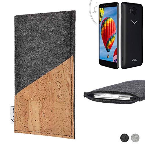 flat.design Handy Hülle Evora für Vestel V3 5030 handgefertigte Handytasche Kork Filz Tasche Case fair dunkelgrau