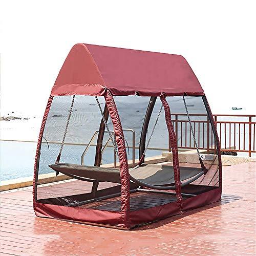 DNNAL 2 Persona Swing Chair, Patio Esterno Poltrona pensile, Stand Dondolo con zanzariera per Beach Patio Terrazza Giardino Domestico,Rosso