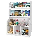 Estantería Infantil para Juguetes Libros Librería Infantil para Niños Armario Almacenaje Organizador Infantil con 3 Estantes 3 Puertas Blanco 90x30x127cm