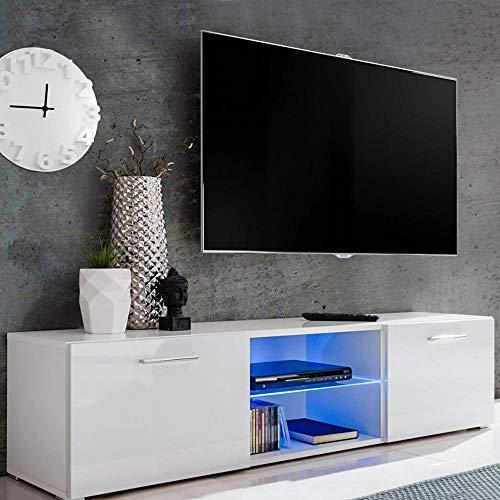 BAKAJI Meuble TV en Bois avec 2 étagères, étagère en Verre + 2 Portes rabattables, avec lumière à LED, Changement de Couleur et télécommande, Design Moderne, laqué Brillant, 140 x 34 x 40 cm (Blanc)
