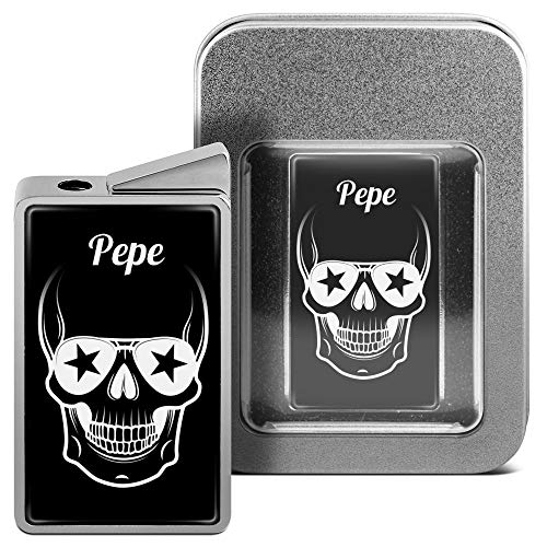printplanet Feuerzeug mit Namen Pepe - personalisiertes Gasfeuerzeug mit Design Totenkopf - inkl. Metall-Geschenk-Box