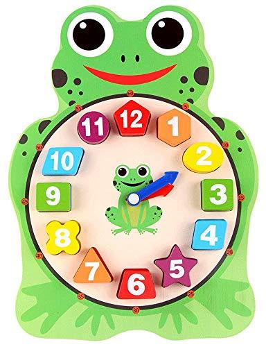 WINIAER Forma de madera que clasifica el juguete del reloj con números y formas enseñando tiempo regalos educativos para los niños