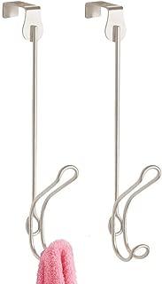 mDesign Modern Metal Long Easy Reach Over Door Double Hanging Hook, 2-Tier Steel Storage Organizer Hook to Hang Coats, Hoodies, Hats, Scarves, Purses, Leashes, Bath Towels & Robes - 2 Pack - Satin