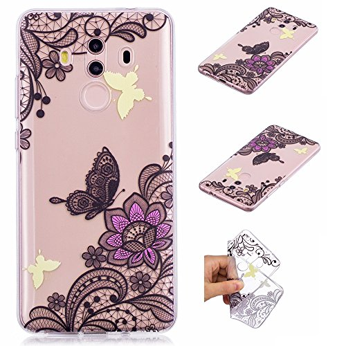 Coque Huawei Mate 10 Pro, Anlike Coque Huawei Mate 10 Pro (6 Zoll) Silicone , Etui Housse de Protection Coque [Motif peint] pour Huawei Mate 10 Pro (6 Zoll) - Dentelle - papillon
