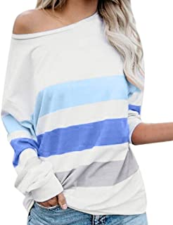 Toimothcn Women Casual Long Sleeve O-Neck Stripe Pullover Sweater Tops T-Shirt Blouse