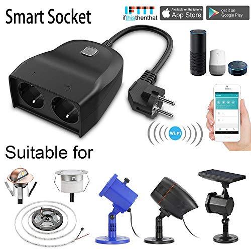 Outdoor Smart Stecker, Outdoor Wi-Fi Steckdose mit 2 Steckdosen, kompatibel mit Alexa und Google Home, drahtlose Fernbedienung/Timer von Smartphone, Wasserdicht für Innen-und Außenbereich