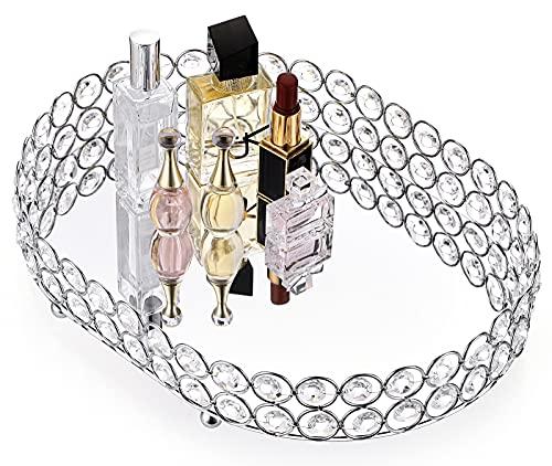 Hipiwe - Vassoio da trucco con cristalli a specchio, per gioielli, decorativi, per cosmetici, profumi, per la casa e per il bagno (ellisse)