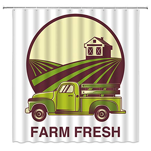 BCNEW Rustic Shower Curtain Truck Chalet Farm Logo Country Style Polyester Fabric Kitchen Bathroom Decor 70×70 Inch with Hook Hole Green