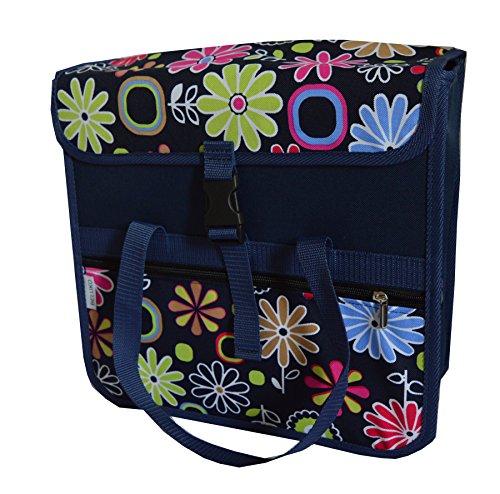 """FAHRRADTASCHE 26\"""" 28\"""" Erwachsene Satteltasche Gepäckträgetasche Doppel 2x15l / Einzelne 1x15l (28. UNO - Blumen blau)"""