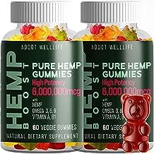 Hemp Gummies - Pure and Natural by ADDOT WellLife- Vegan Hemp Oil Infused Gummy - 6,000,000 mcg (2 Bottles)