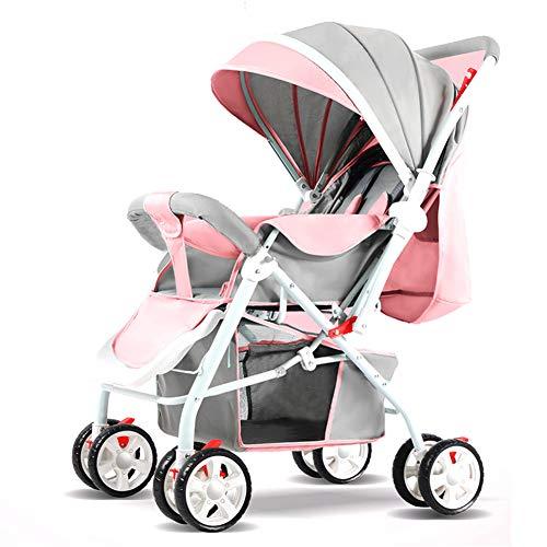 Kindgre kinderwagen 3 in 1 kan liggend ultra lichte draagbare zomer vier wielen baby carriage (grijs & roze)