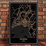 lubenwei Canvas Painting Poster Prints Amsterdam Tokyo Barcelona Modern World City Gold Map Tour Paintings Art Wall Pictures For Living Room Home Decor (AP-2496) 50x70cm Sin Marco