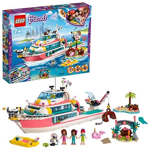 LEGO 41381 Friends Boot für Rettungsaktionen und Legoinsel, Spielzeug für Kinder mit den Minipuppen Olivia,...