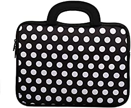 E - Living 7-8.4 Inch / 8.9-9 Inch / 10.1 Inch / 11.6-12.5 Inch / 13-13.3 Inch / 14-14.1 Inch / 15-15.6 Inch Neoprene Sleeve/Case/Bag/Cover with Handle (White Dots, 7-8 Inch)
