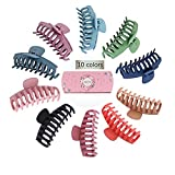 10 Colors Hair Big Claw Clips 4 Inch Matte Nonslip Large Hair Clamps Fit Thin Hair and Thick Hair Trendy Jaw Hair Clips Strong Hold Hair Clips suitable for Women Fashion Hair Styling Accessories.