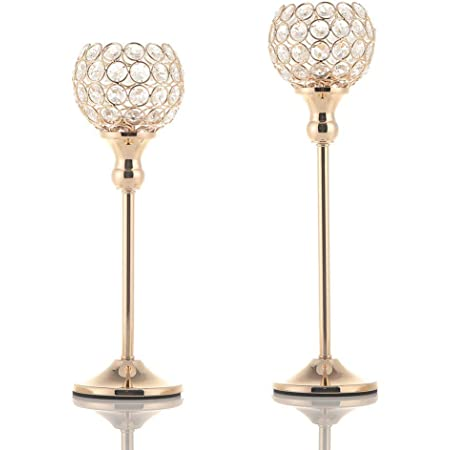 VINCIGANT Gold Crystal Candle Holders Set of 2,Pillar Candlesticks for Home Decor,Wedding Party Table Centerpieces,Housewarming Gift