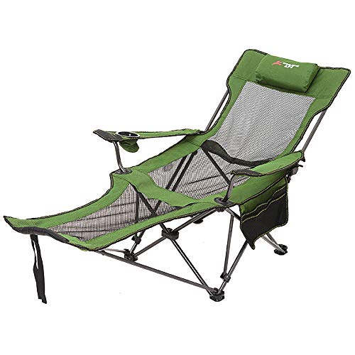 Outdoor Camping Chair,Folding Reclining Bed Chair With Pillow High Back Support Lie Down Ankle Pockets Cup Holder Armrest Portable Beach Garden Camping Travel