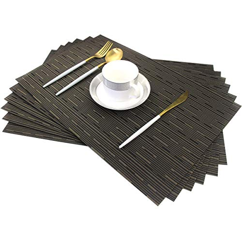 Famibay PVC Tischsets Bambus Platzdeckchen 6er Set Abwaschbar Tischmatten rutschfest Platzdeckchen (Black Gold 6)