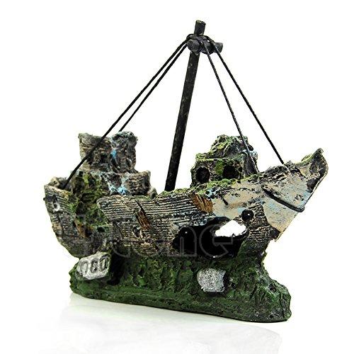 SLYlive Aquarium Berg Blick,-Aktenvernichter Boot, Segeln für die Ornament von Fische Tank Dekoration Aquarium Dekorationen aus Kunstharz