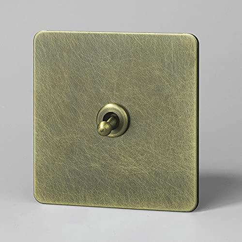 Inicio 86 Tipo Interruptor palanca retro 1-4 Gang Interruptor palanca vintage 2 vías Destacado Personalidad Interruptor de luz patrón bronce acero inoxidable Palanca latón Interruptor de control doble