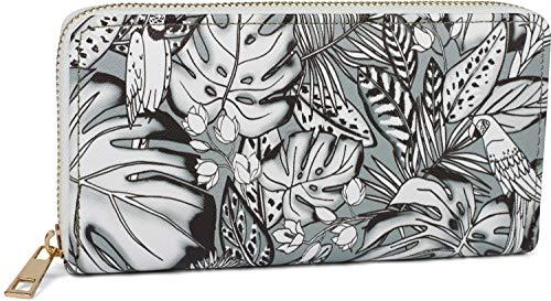 styleBREAKER Portafoglio donna con diversi motivi estivi, cerniera, portafoglio 02040143, colore:Tropico - Nero-Grigio-Bianco