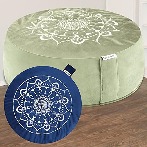 Hihealer Meditation Cushion Floor Pillow with Extra Cover 16'x16'x5' Meditation Pillow Cushions for Sitting on Floor, Zafu Meditation Accessories Decor Yoga Gifts (Serenity Navy & Green)
