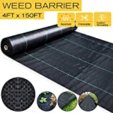 SEKKVY 4ft x 150ft Heavy Duty Landscape Fabric, Weed Control Ground Cover Garden Weed Barrier Gardening Mat, Ground Cover for Yard, Flower Bed, Garden Stakes