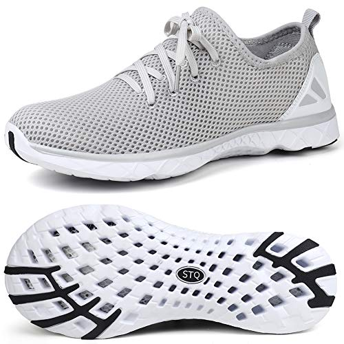STQ Womens Water Shoes for Beach Swim Pool Lace-up Water Aerobics Boating Kayaking Walking Shoe Light Grey/White,8/8.5