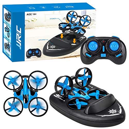 Mini-Drohne für Kinder, ferngesteuerte Boote für Pools und Seen, RC-Car 3 in 1 Seelandluft-Modus, umschaltbar, wasserdicht, Luftkissenfahrzeug-Spielzeug RC Quadcopter, perfekt für Geburtstagsgeschenk